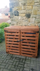 Wooden Wheelie Recycling Garden Bin Storage Unit - Double