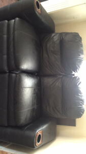 2 piece leather theatre sofa