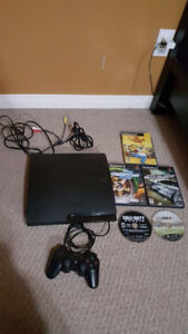 128 gb PS3 with a controller, 2 ps3 games and 3 ps2 games