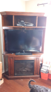 Tv corner stand with fireplace