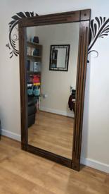Solid Oak Mirror Handcrafted Dark Brown Wood Large Tall Rectangular