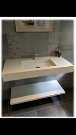 Composite bathroom basin wall hung