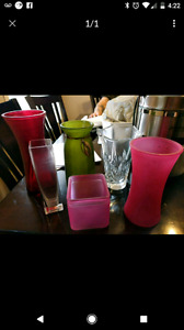 6 assorted glass vases
