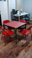Cute Red Card Table and 4 Chairs