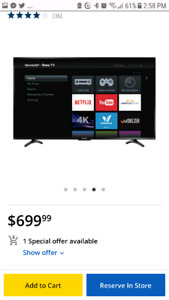 "43"" SHARPE ROKU 4K ULTRA HD TV + Wall Mount"