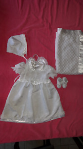 Girls christening gown set with blanket