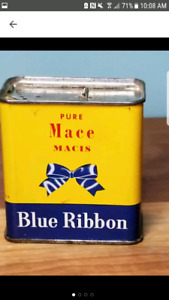 Vintage Blue Ribbon Spice Tin