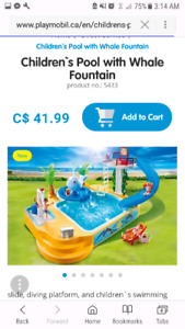 Playmobil pool with whale fountain