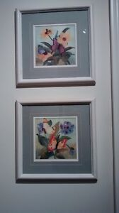 2 framed butterfly pictures with cream frame and sage mat$5