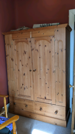 Large Solid Wood Double Wardrobe