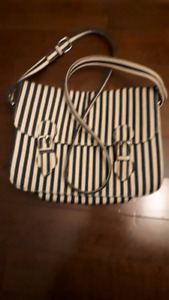 Forever 21 Blue and white striped canvas purse