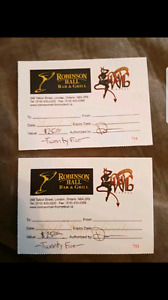 2 $25 Robinson Hall / Thorny Devil gift cards
