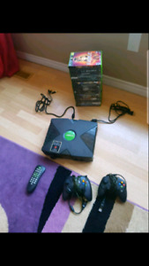 XBOX with 2 controllers, 23 games and DVD remote