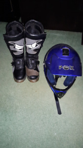 Fly MX Racing Boots Size 3 Kids   with PHX Helmet