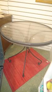 Outside metal abd glass patio table