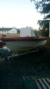 21 ft boat 70 hp Evenroude power trim and galvanized trailer