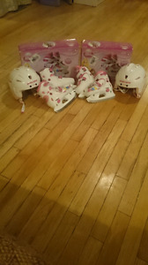Girls Disney ice skates with helmets 2 pairs. Only used 3 times.