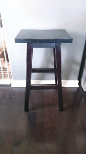 Two wooden counter stools