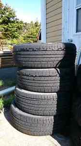 Four  225 60r 17  summer tires. Lots of tread left. Vehicle is g