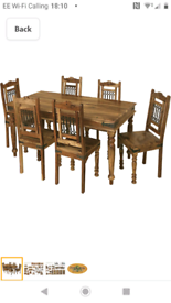 Sheesham table and 6 chairs