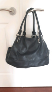 Large Black Faux Leather Tote Bag GREAT CONDITION