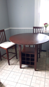 Bar height table with 2 chairs