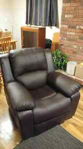 Dark brown feaux leather recliner - great condition!!