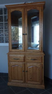 oak china, curio cabinet or bookcase from oak warehouse