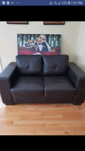 SOLD      Bonded Brown leather love seat   ( Sold sorry