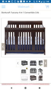 Tuscany 4 in 1 Convertable Crib and mattress