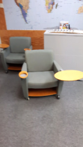 Guest chairs with swing tablets