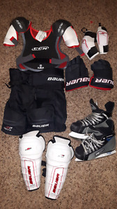 Hockey equipment + skates