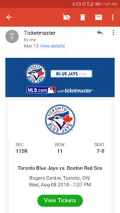 2 Blue Jays VS Red Sox Tickets - August 8, 2018