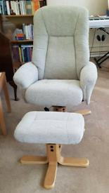 Maui Recliner Chair & Stool set - Like new