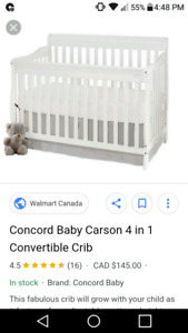 White Crib and mattress