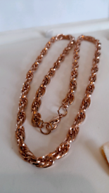 Gold plated rope design unisex chain 30cm