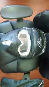 Zoan helmet flat black with goggles used once