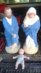 2ft tall SOLID concrete statues for nativity scene