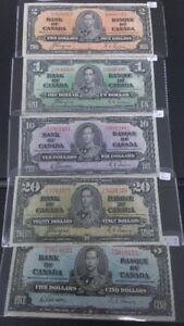 Canadian 1937  Group of Bank Notes