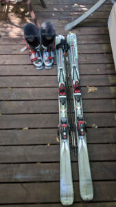 Downhill Skis + Poles + Ski Boots (size 13) - Full Set