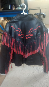 New Gorgeous Red & Black tassel Leather Woman's Motorcycle  Coat