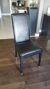 Contessa furniture set of 6 black leather dining chairs