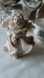 silver plate jug, salad serving spoons, Christmas angel figurine