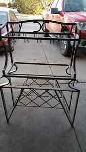 Metal Baker's Rack with wine bottle and wine glass holders