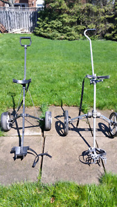 Two pull golf carts