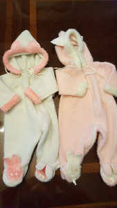 Retro bunny outdoor outfits for girls 3-6 months (guess)