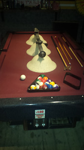 4 X 8 COIN OP POOL TABLE WITH EVERYTHING