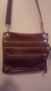 ROOTS Brown Leather Crossbody Bag