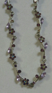 Purple and pink necklace and earrings