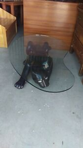 Beautiful Black Panther Kidney Shaped Glass Coffee Table
